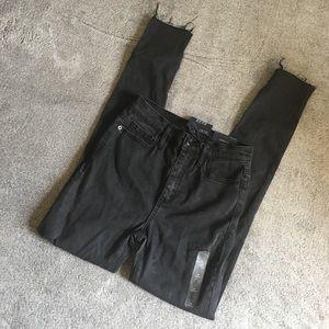 Gap High Rise True Skinny Raw Hem Black Jean